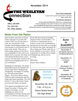 onnection THE WESLEYAN November 2014