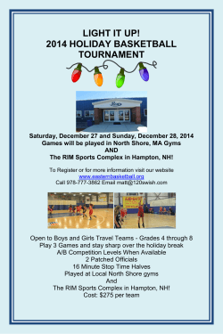 LIGHT IT UP! 2014 HOLIDAY BASKETBALL TOURNAMENT