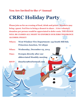 CRRC Holiday Party You Are Invited to the 1 Annual
