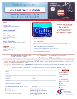 Camden County Bar Association Wednesday, January 7, 2015 4 - 6:15 pm