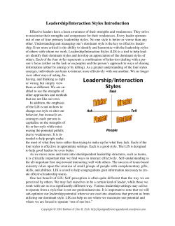 Leadership/Interaction Styles Introduction