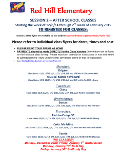 Red Hill Elementary  SESSION 2 – AFTER SCHOOL CLASSES
