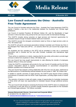 Law Council welcomes the China – Australia Free Trade Agreement