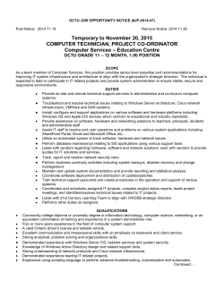 Temporary to November 20, 2015 COMPUTER TECHNICIAN, PROJECT CO-ORDINATOR – Education Centre