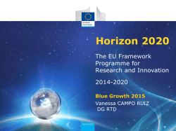 Blue Growth Focus Area WP 2014-2015