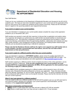 2014-2015 Reappointment Letter - residential education & housing