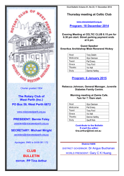 Current Bulletin - Rotary Club of West Perth