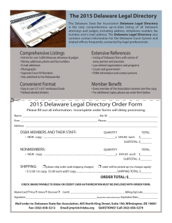 2015 Delaware Legal Directory Order Form The 2015 Delaware