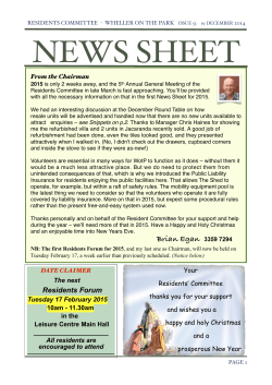 News sheet issue 53 - Wheller on the Park Residents Committee