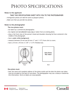 Appendix A – Photo specifications