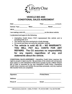 VEHICLE BID AND CONDITIONAL SALES AGREEMENT • The