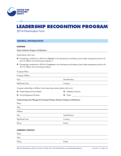 LEADERSHIP RECOGNITION PROGRAM