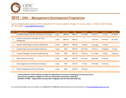 ODC-Management Development Program 2015 Calendar