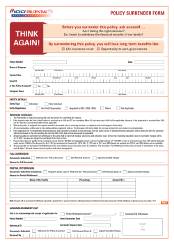 Surrender form - ICICI Prudential Life Insurance