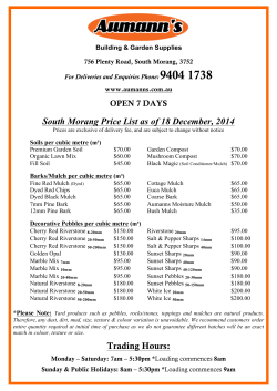 South Morang Price List as of 18 December, 2014