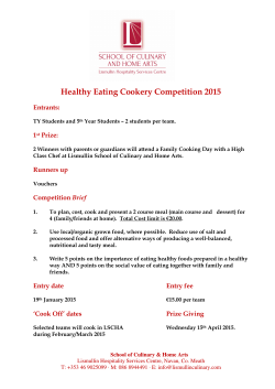 Healthy Eating Cookery Competition 2015