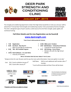2015 DP Strength Clinic - Deer Park Strength & Conditioning