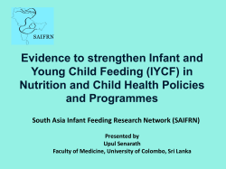 Evidence to strengthen Infant and Young Child Feeding (IYCF)
