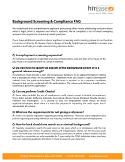 Background Screening & Compliance FAQ