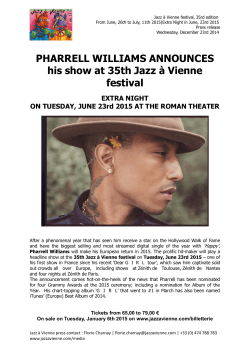 PHARRELL WILLIAMS ANNOUNCES his show at