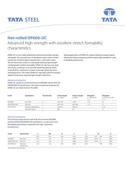 Hot-rolled DP600-UC - Data sheet