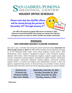 Office Holiday Closure 2014