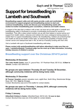 Support for breastfeeding in Lambeth and Southwark