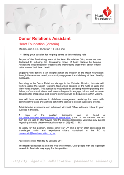 Donor Relations Assistant - National Heart Foundation