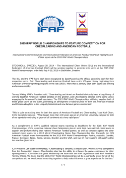 2015 ifaf world championships to feature competition for