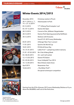 Events Calendar - Winter 2014/2015