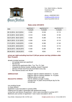 Rates winter 2014/2015 prices per night excluding