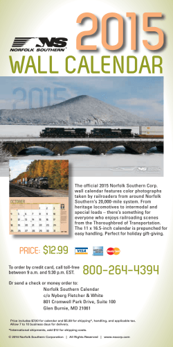 Purchase the 2015 Norfolk Southern Wall Calendar
