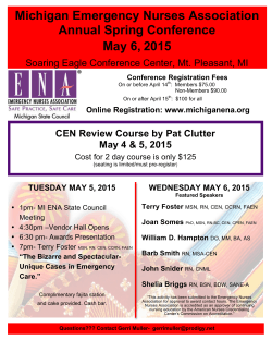 wednesday may 6, 2015 - Michigan Emergency Nurses Association