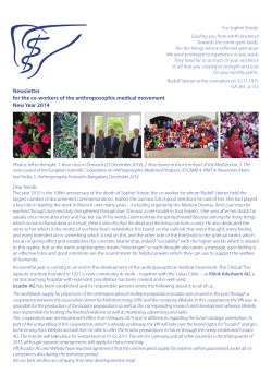 Newsletter in New Year 2014 - Medizinische Sektion am Goetheanum