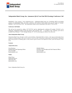 Independent Bank Group, Inc. Announces Q4 & Year