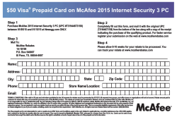 $50 Visa Prepaid Card on McAfee 2015 Internet Security 3 PC