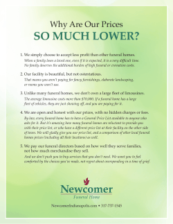 SO MUCH LOWER? - Newcomer Funeral Home Indianapolis