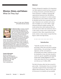Mission, Vision, and Values: What Do They Say?