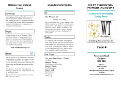 Year 4 - Curriculum Newsletter