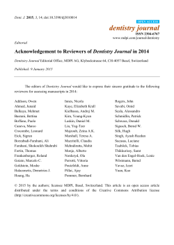 Acknowledgement to Reviewers of Dentistry Journal in