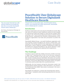 PeaceHealth Uses Globalscape Solution to Secure Digitalized