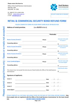 retail & commercial security bond refund form