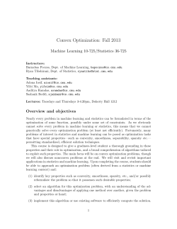 Convex Optimization: Fall 2013