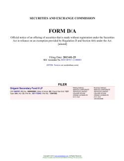 Origami Secondary Fund II LP Form D/A Filed 2013-01-25