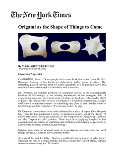 Origami as the Shape of Things to Come