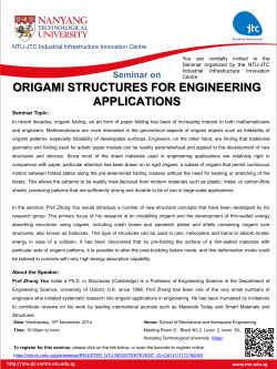 ORIGAMI STRUCTURES FOR ENGINEERING APPLICATIONS