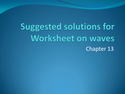 Suggested solutions for Worksheet on waves