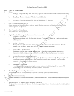 Ecology Review Worksheet KEY 47