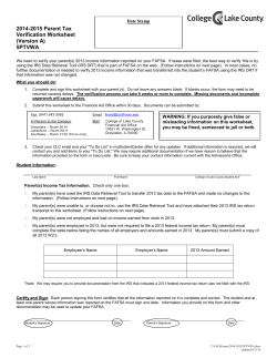 2014-2015 Parent Tax Verification Worksheet (Version A) 5PTVWA