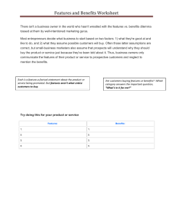 Features and Benefits Worksheet